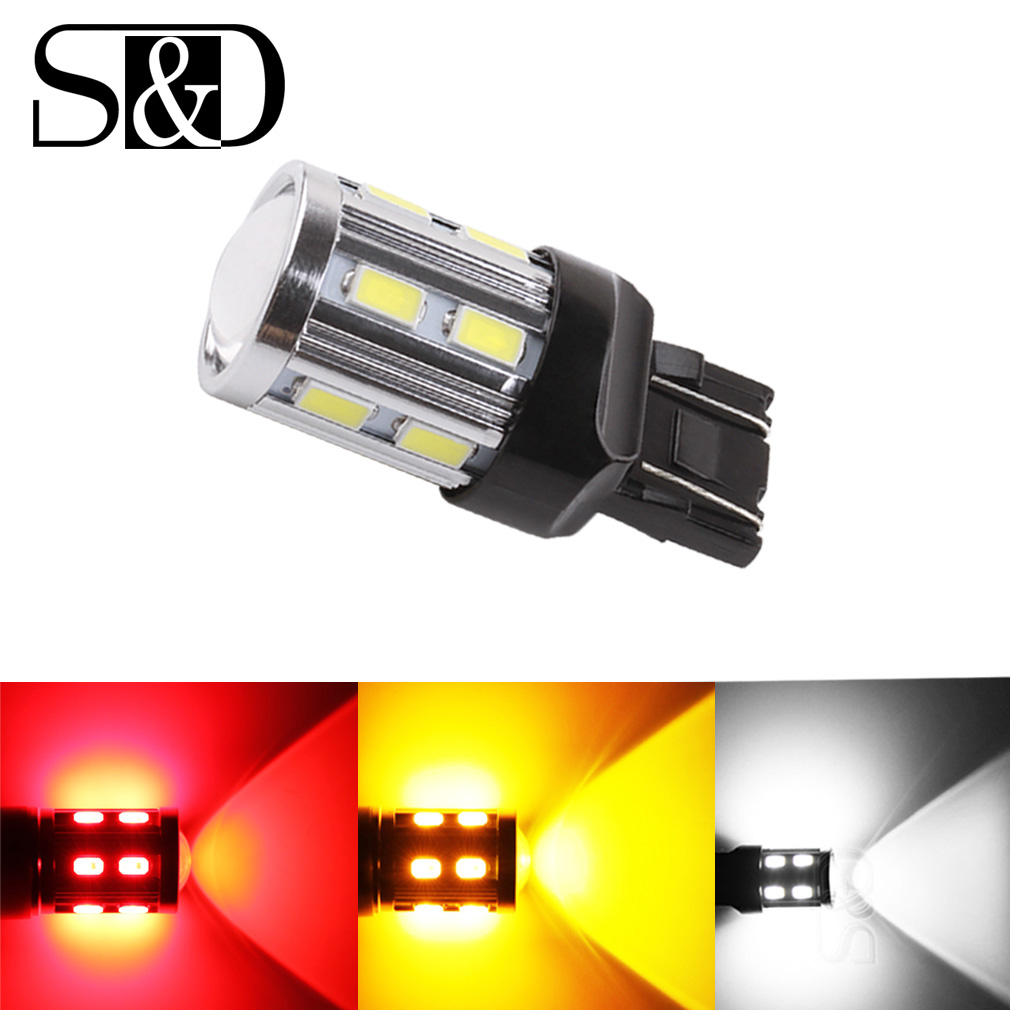 S&D Car Lights 7443 7440 3157 3156 1156 1157 BA15S BAY15D LED Bulbs White <font><b>W21</b></font>/ <font><b>5W</b></font> High Power Brake Turn Signal Auto Lamps 12V image