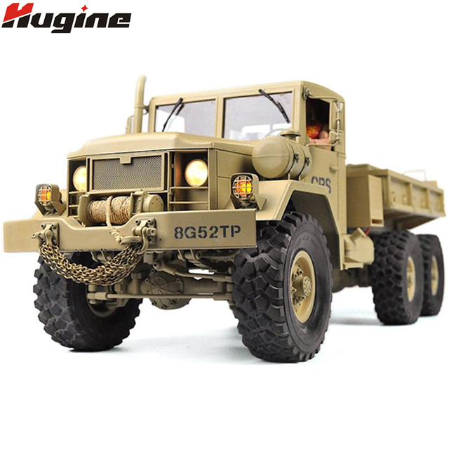 Truk RC Remote Control Kendaraan Transporter Militer Off-Road Rakasa 6WD Taktis 2.4G Rock Crawler Elektronik Mainan Anak-anak hadiah