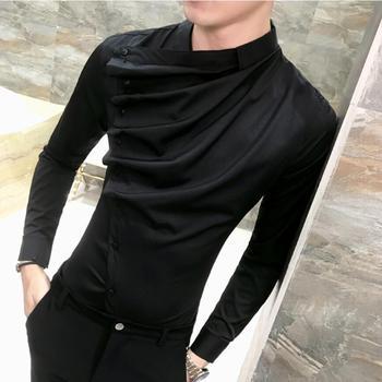 2019 Blouse Homme High Quality Men Party Dress Shirt Spring Long Sleeve  Slim Fit Mens Shirts Tuxedo Groom Wedding S-3XL