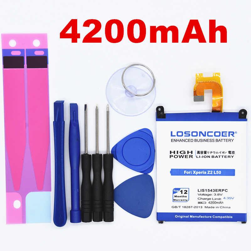 100% الأصلي LOSONCOER 4200 mAh LIS1543ERPC الهاتف المحمول بطارية لسوني اريكسون Z2 L50 L50W L50U L50T D6502 D6503 البطارية