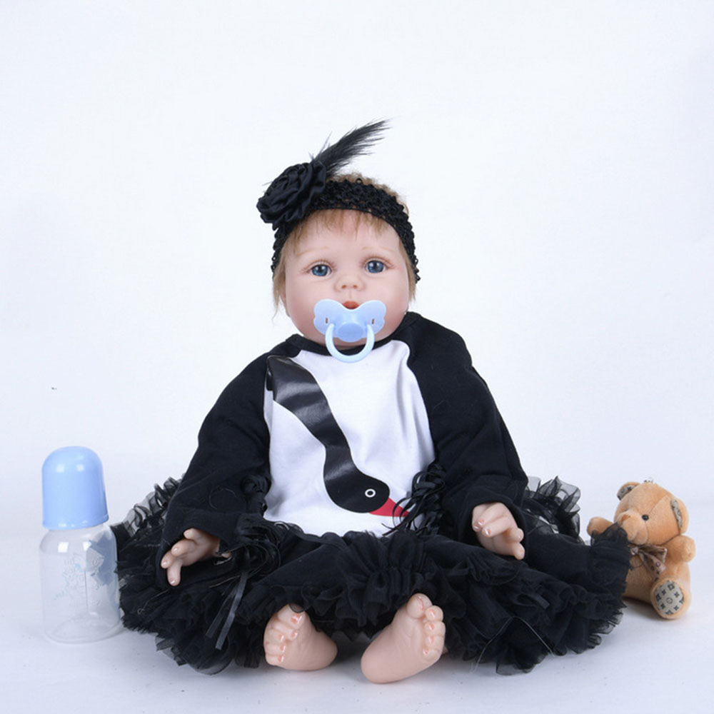 22 inches Realistic Reborn Girl Doll Soft Silicone Princess Newborn Baby with Cloth Body Toy for Kids Birthday Christmas Gift 22 inches realistic reborn girl doll soft silicone cute newborn baby with cloth body toy for kids birthday christmas gift