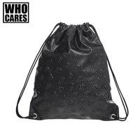 Czarny czaszka PU plecak kobiet torby sznurek 2017 sac dos bagpacks podróży torby szkolne dla nastolatków dziewczyny mochila escolar