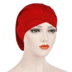 Image 4 - Kadın yumuşak uyku gece kap müslüman düz kızılderili şapkası Baggy kemo şapka türban bere Bonnet şapkalar Skullies geniş bant islam kap