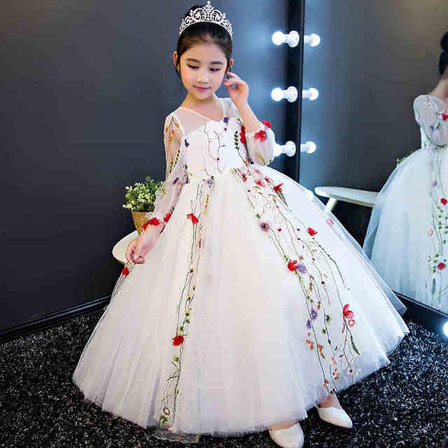 873fe9db7 Elegant White Tulle Appliques Girls Wedding Dress Long Sleeve Kids ...