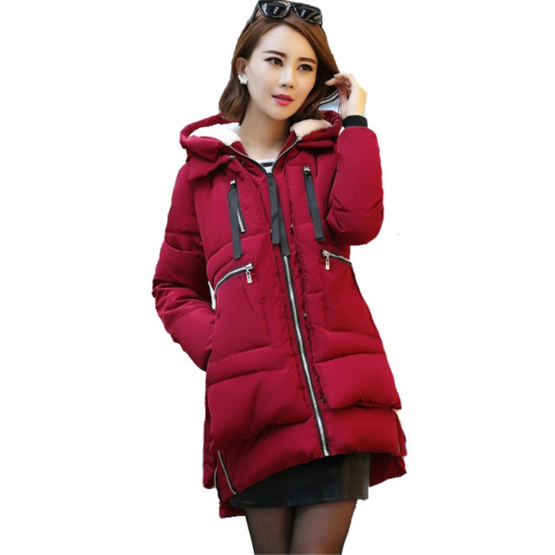 Plus Size M-5XL Female   Parkas   New Women Winter Jacket Warm Hooded Big Pockets Zipper Slim   Parkas   Ladies Coats Women Outwears