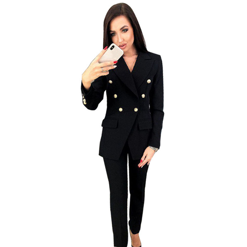MVGIRLRU Chic Woman Pant Suits Office Lady Sets double breasted lined blazer jacket trousers 2 piece