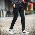 Otoño/Invierno de Los Nuevos Hombres Pantalones Hombres Pantalones de Chándal Harem 2016 Color Puro Casual Completa Streetwear de La Moda de Tobillo anillados pantalones