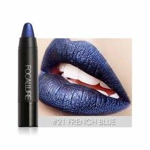 Купить с кэшбэком FOCALLURE Matte Lipstick  Waterproof Metallic Lips Pigment Lipstick Long Lasting Lipsticks Dark Color Tattoo Brand FA22