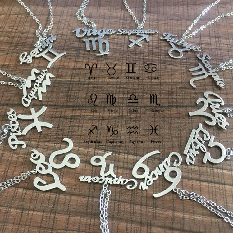 رسالة القوس الفولاذ المقاوم للصدأ قلادة زودياك علامة كوكبة علامات قلادة القلائد للنساء 12 كوكبة مجوهرات