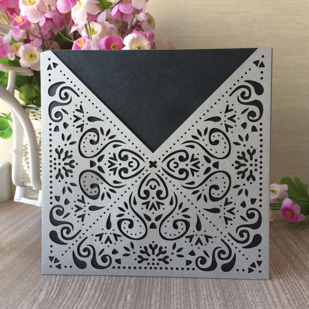Luxury Pocketfold Wedding Invitations: 50Pcs/Lot Luxury Pocket Design Birthday Party Invitation