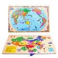 Mapa del mundo rompecabezas de madera los niños de madera rompecabezas Niños juguetes educativos de aprendizaje temprano de China W131