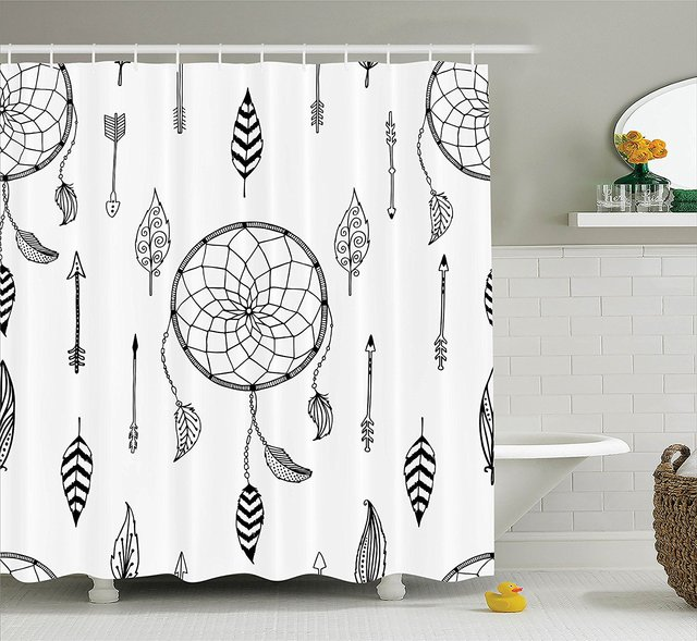 Arrow Shower Curtain Ethnic Anthique Authentic Tribal Dreamcatchers Feathers And Arrows Design Western Fabric Bathroom Decor Set