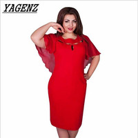 Yagenz2017 verano de gran tamaño de las señoras vestidos de moda sexy cuello redondo manga murciélago partido clup lápiz dress casual ropa a95