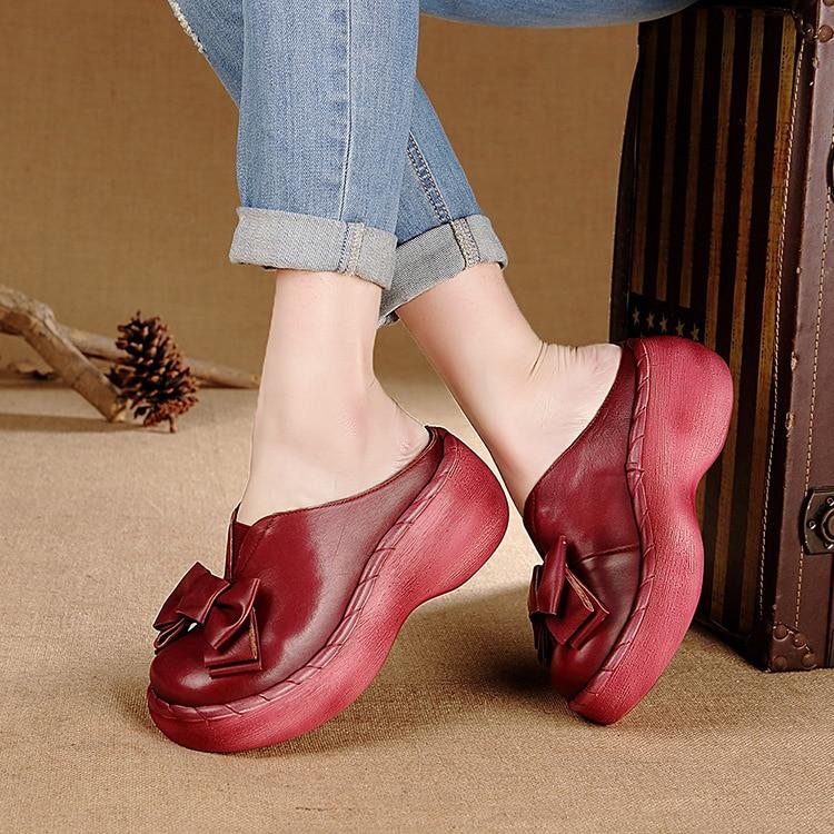 Echtes Leder Frauen Sandalen Handgemachte Bowtie Plattform Keile Rindsleder High Heel Sommer Schuhe Runde Zehen Comfotable Frauen Rutschen-in Hohe Absätze aus Schuhe bei  Gruppe 3