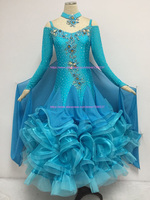 Women Ballroom Dress Flamenco Dance Costume Modern Waltz Tango Turquoise Blue Custom Made Competition Dancing Dresses