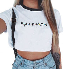 Friends Tv 2018 Harajuku Tumblr Women Femme Blouse Casual Tee Tops Sexy Short Sleeve Female Shirts Women White Clothing Blusas(China)