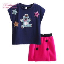 2017 Pettigirl New Spring Girls Clothing Set Animal Short T-shirt Skirt Kids Christmas 2 pieces Outfit Suit G-DMCS908-848(China (Mainland))
