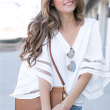 Women Long Sleeve Blouse Shirt Summer Sexy Lady White Chiffon Tops Casual Round Neck Cropped Female Half Sleeve Blouse Shirt Top sweet half sleeve round neck ruffled women s chiffon blouse