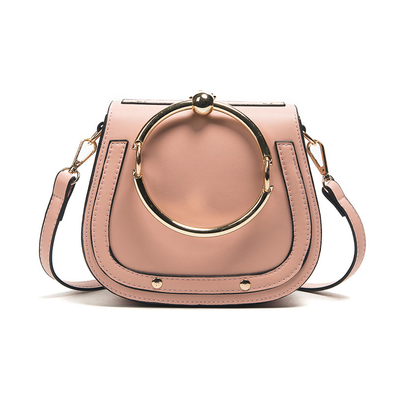 Fashion Unique Metal Ring Top Handle Handbags For Girl Women PU Leather Shoulder Bag Lady Circular Messenger Bags Female Bag colorful pu leather strap for bag accessories handle with metal clasp for diy purse 10pcs lot