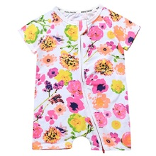 Newborn Cute Floral Cotton Baby Girl Rompers Infant zipper Romper Children Clothes Sets short Sleeve Toddler Jumpsuit cute newborn girl romper 100% cotton baby girls rompers summer 0 24months toddler rompers lotus collar fly sleeve easter romper