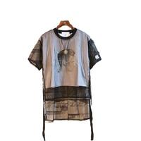 Hip Hop Men t Shirt Ribbon Printed Rock Mens t Shirts Street Skateboard Camisetas Swag Streetwear Mesh Rave Rap Clothes T6028