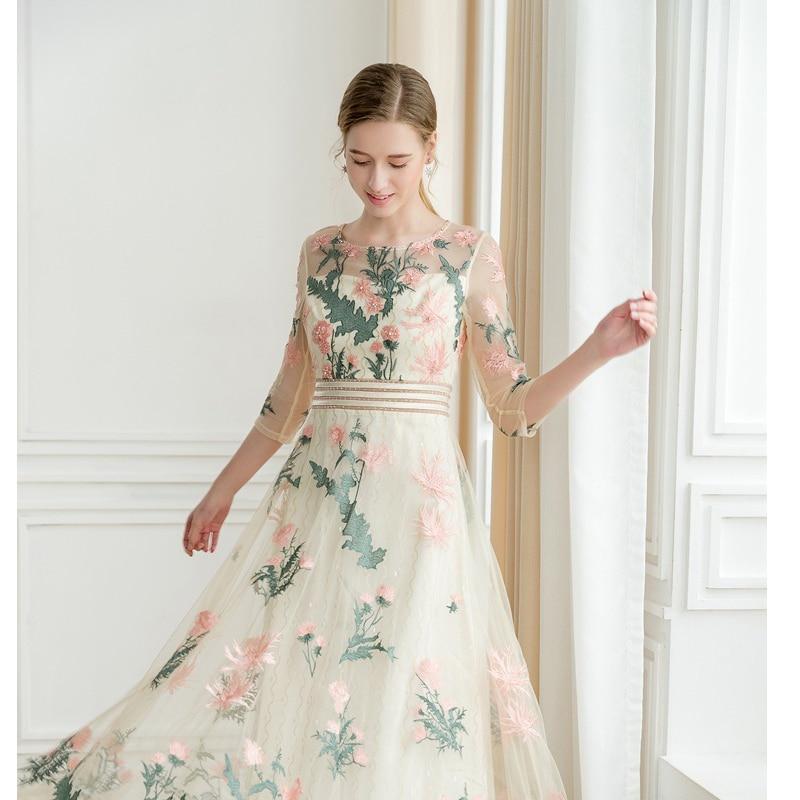 GEJIAN élégant haut de gamme élégant robe d'été rose broderie Maxi robe manches col rond luxe broderie soirée longue robe