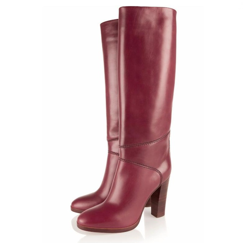 Fashion Red Wine Boots Pu Leather Long Boots Chunky High Heels Knee High Slip On Autumn Winter Boots Round Toe Woman ShoesFashion Red Wine Boots Pu Leather Long Boots Chunky High Heels Knee High Slip On Autumn Winter Boots Round Toe Woman Shoes