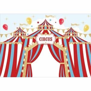 Image 2 - Allenjoy doğum günü sirk zemin parti altın bayrakları mavi kırmızı çizgili çocuk balon yıldız arka plan fotoğraf Photocall afiş