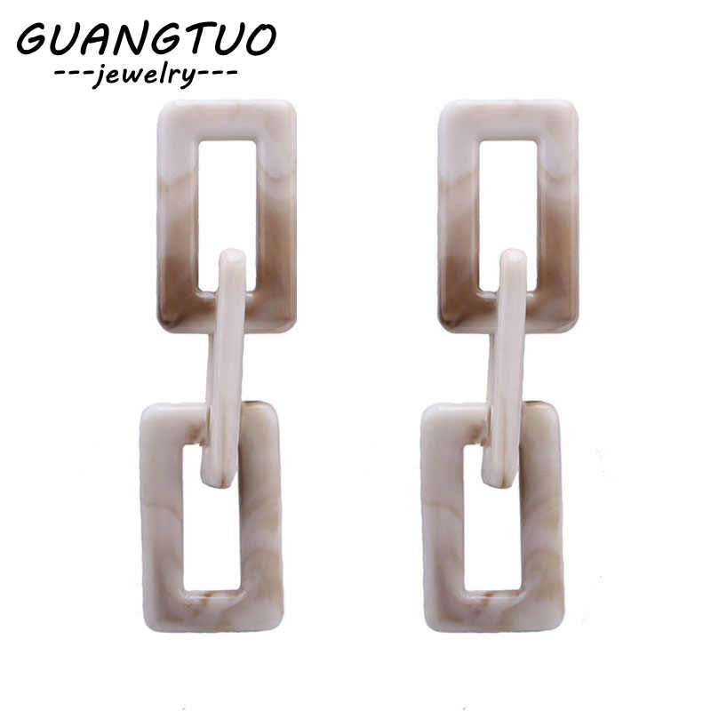 Geometric Square Acrylic Chain Drop Earrings For Women Fashion Ear Jewelry Statement Dangle Brincos Femmes Party Gift EB2189