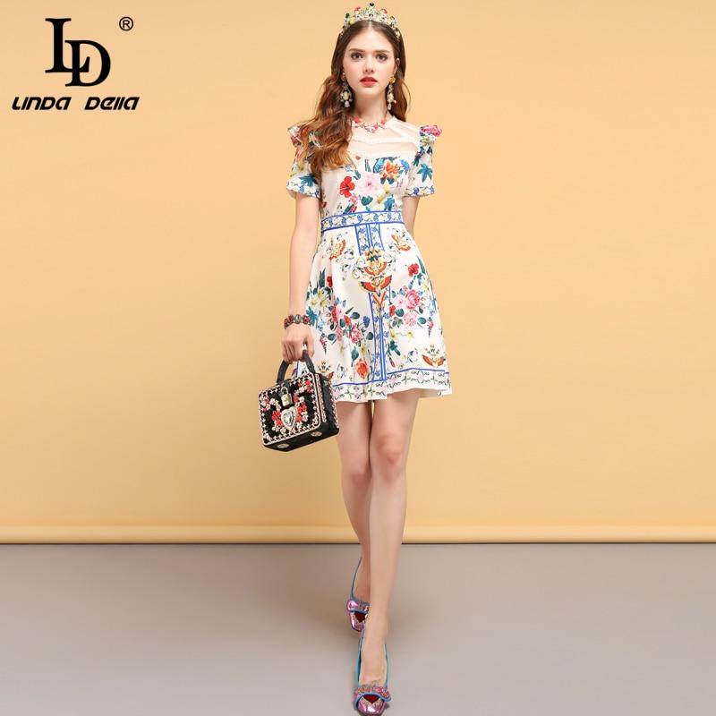 LD LINDA DELLA Fashion Runway Summer Dress Women's Short Sleeve Lace Patchwork Ruffles Floral Print Ladies Casual Elegant Dress