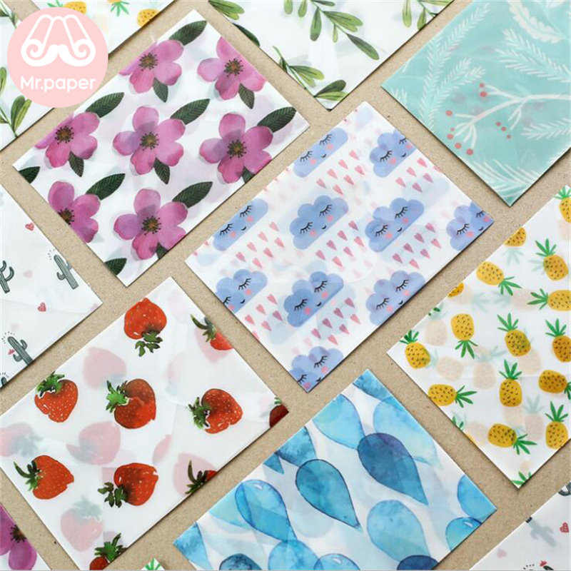 Mr Paper 3pcs/lot 8 Designs Sulfate Paper Envelopes With Steal Stickers Strawberry Pineapple  Handmade Kawaii Gift Envelopes