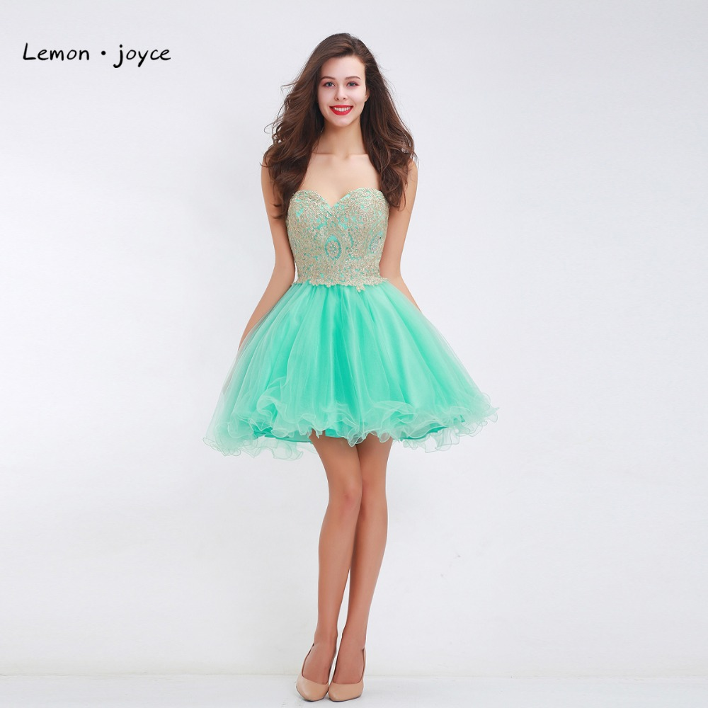 Lovely Sweetheart Gold Lace Tulle Homecoming Dresses Appliques ...