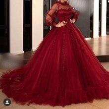 Красные платья для выпускного 2019 с длинным рукавом и высоким