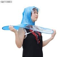GQIYIBBEI Portable UFO Rain Hat Cove Foldable Raincoat Kids Umbrella PEVA Material Travel Fishing Sessile Cap