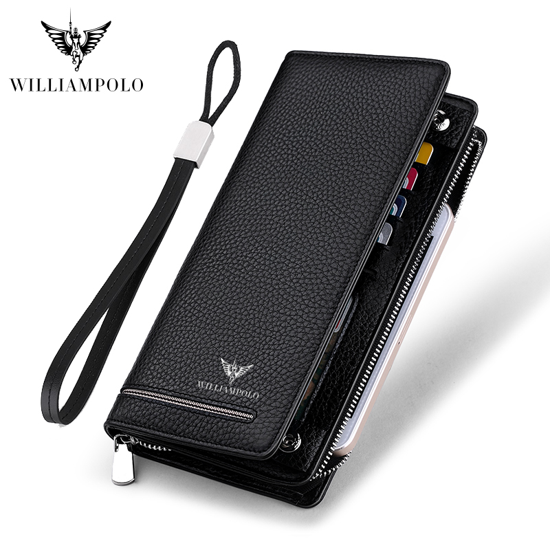 WILLIAMPOLO Genuine Leather Luxury Brand Men Wallets Long Men Purse Wallet Male Clutch Business Wallet Coin PL219SMT