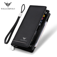 WILLIAMPOLO Genuine Leather Luxury Brand Men Wallets Long Men Purse Wallet Male Clutch Business Wallet Coin PL219