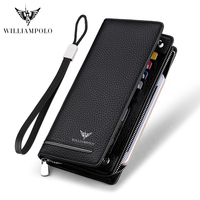 WILLIAMPOLO Genuine Leather Luxury Brand Men Wallets Long Men Purse Wallet Male Clutch Business Wallet Coin PL219SMT