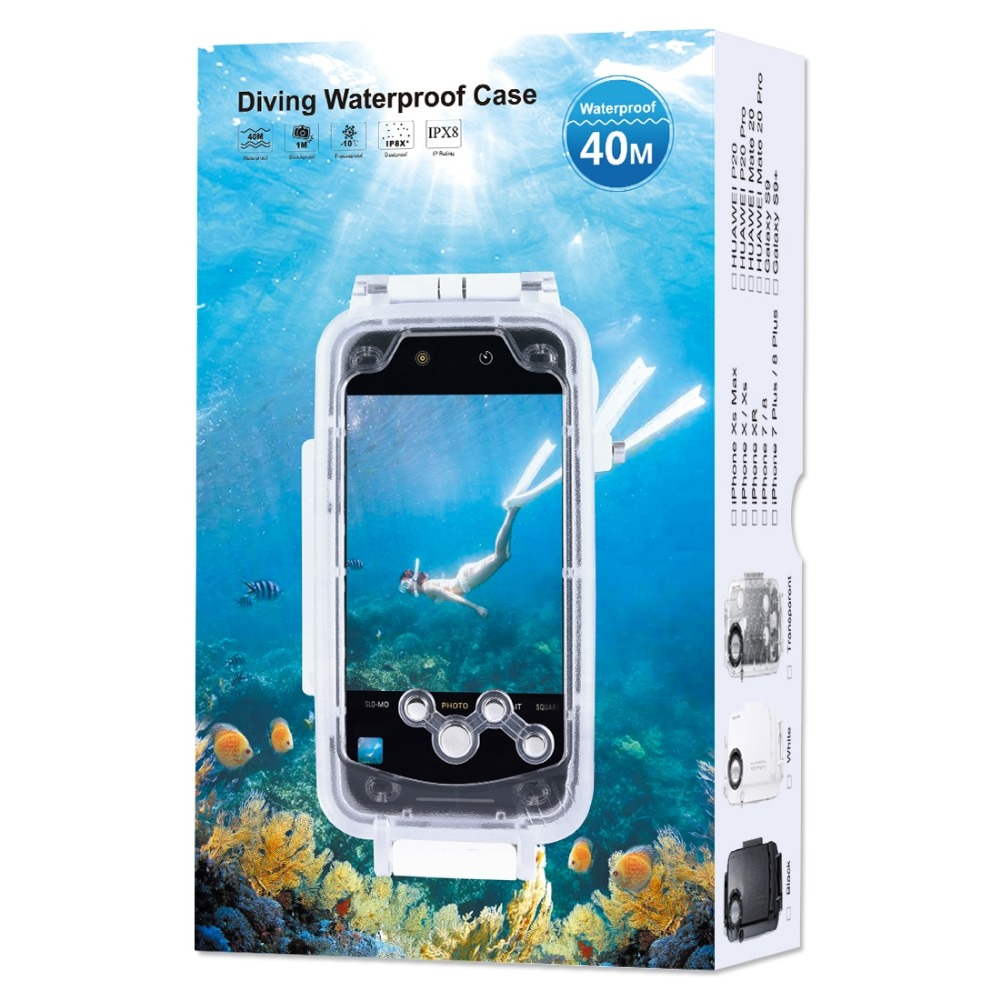 Haweel for huawei p20 40m/130ft Professional Waterproof Diving Housing Photo Video Taking Underwater Cover Case For Huawei P20 - 6