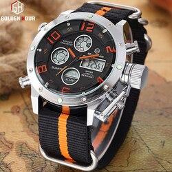 GOLDENHOUR zegarki sportowe mężczyźni analogowy cyfrowy wojskowy wyświetlacz LED mężczyźni zegarki zegar męski zegarek kwarcowy Relogio Masculino w Zegarki kwarcowe od Zegarki na