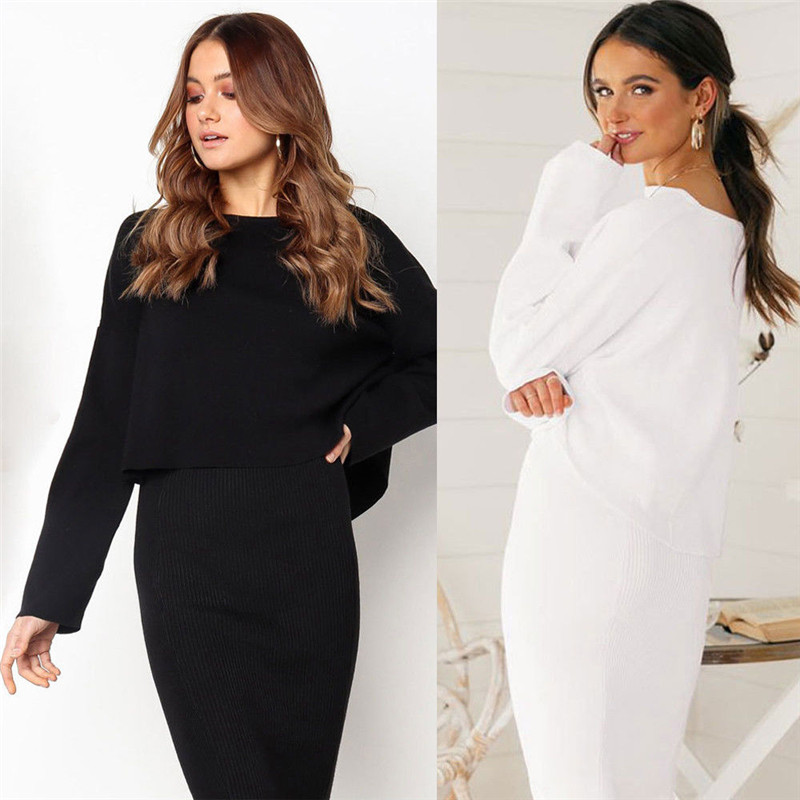2018 Spring Autumn Knitted Skirt Set Women Long Sleeve Office Wear Casual Black White Pullover Sweatshirts Top Clothing Suit