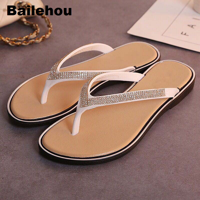 Bailehou Fashion Women Slippers Crytal Flip Flops Sandals Slip On Slides Beach Slipper Flat Casual Shoes Diamond Bohemian Shoes 2018 new bohemian women sandals crystal flat heel slipper rhinestone chain women casual beach shoes size 34 44