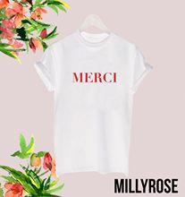 MERCI FRENCH THANK YOU LADIES MAN WOMENS SLOGAN RED T SHIRT TEE TSHIRT GIFTFashion Design Free Shipping  Mens Shirts Fashion