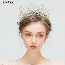 JaneVini 2019 Luxury Gold Bridal Tiaras and Crowns Princess Pageant  Headbands Rhinestone Pearls Wedding Jewelry Hair Accessories 33d17816acaf