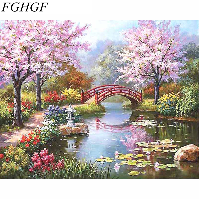 FGHGF Frameless Rural Landscape DIY Painting By Numbers Kits Coloring Painting By Numbers Paint On Canvas For Living Room