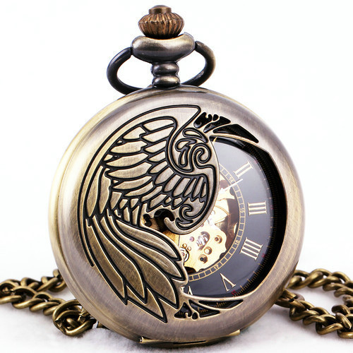 Hollowed Copper Roman Unisex Mens Mechanical Pocket Watch Angel Wing Embossed Lid Black Retro Dial Pendant