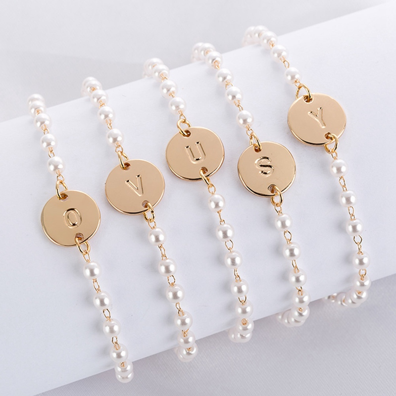 Name Bracelet Dainty Friendship Jewelry Round Gold Silver Initial Fashion 26 Letter Pearl