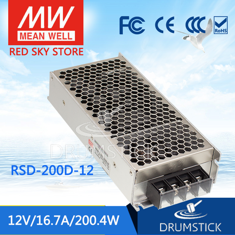 MEAN WELL RSD-200D-12 12V 8.4A meanwell RSD-200 12V 201.6W Railway Single Output DC-DC Converter [Real6] [powernex] mean well original rsd 150c 12 12v 12 5a meanwell rsd 150 12v 150w railway single output dc dc converter