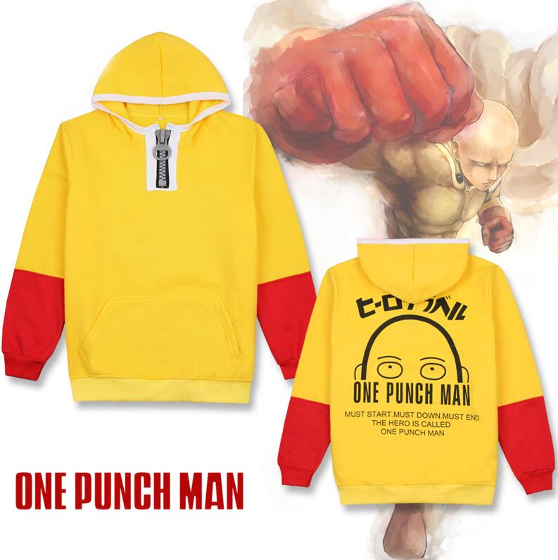 Anime ONE PUNCH MAN Saitama Hoodie Cosplay Costume Yellow Hooded Pullover Fleece Daily Casual Thicken Sweatshirt Jacket