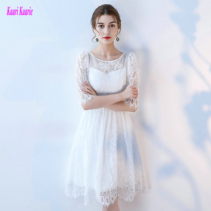 Unique Arabic White Lace   Cocktail     Dresses   2019 Sexy Ivory Prom Gowns Scoop Half-Sleeve Zipper Knee-Length   cocktail   Party   dress