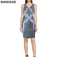 Leger Babe 2019 New Arrivals Fashion HL Foil Printed Knee High V Neck Sleeveless Bodycon Slim Line Grey Metallic Bandage Dress
